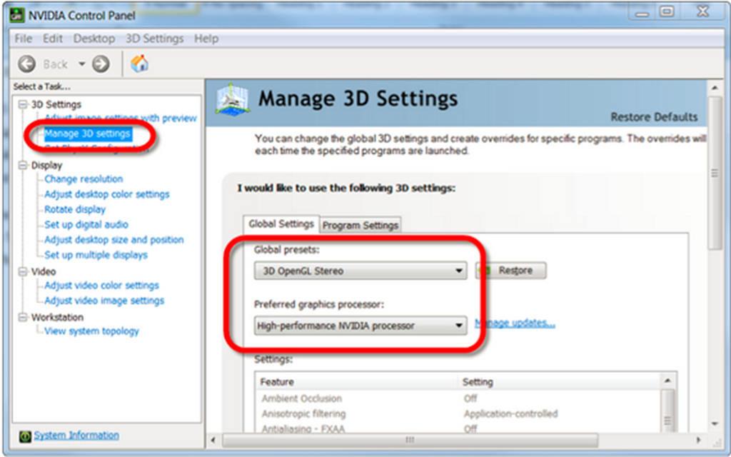 change the nvidia graphics settings