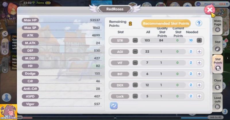 Ragnarok X Next Generation Thief Stats Distribution