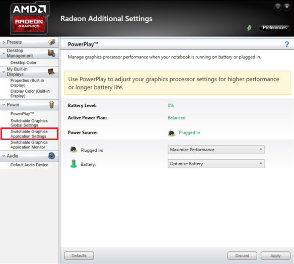 Select Switchable Graphics Application Settings