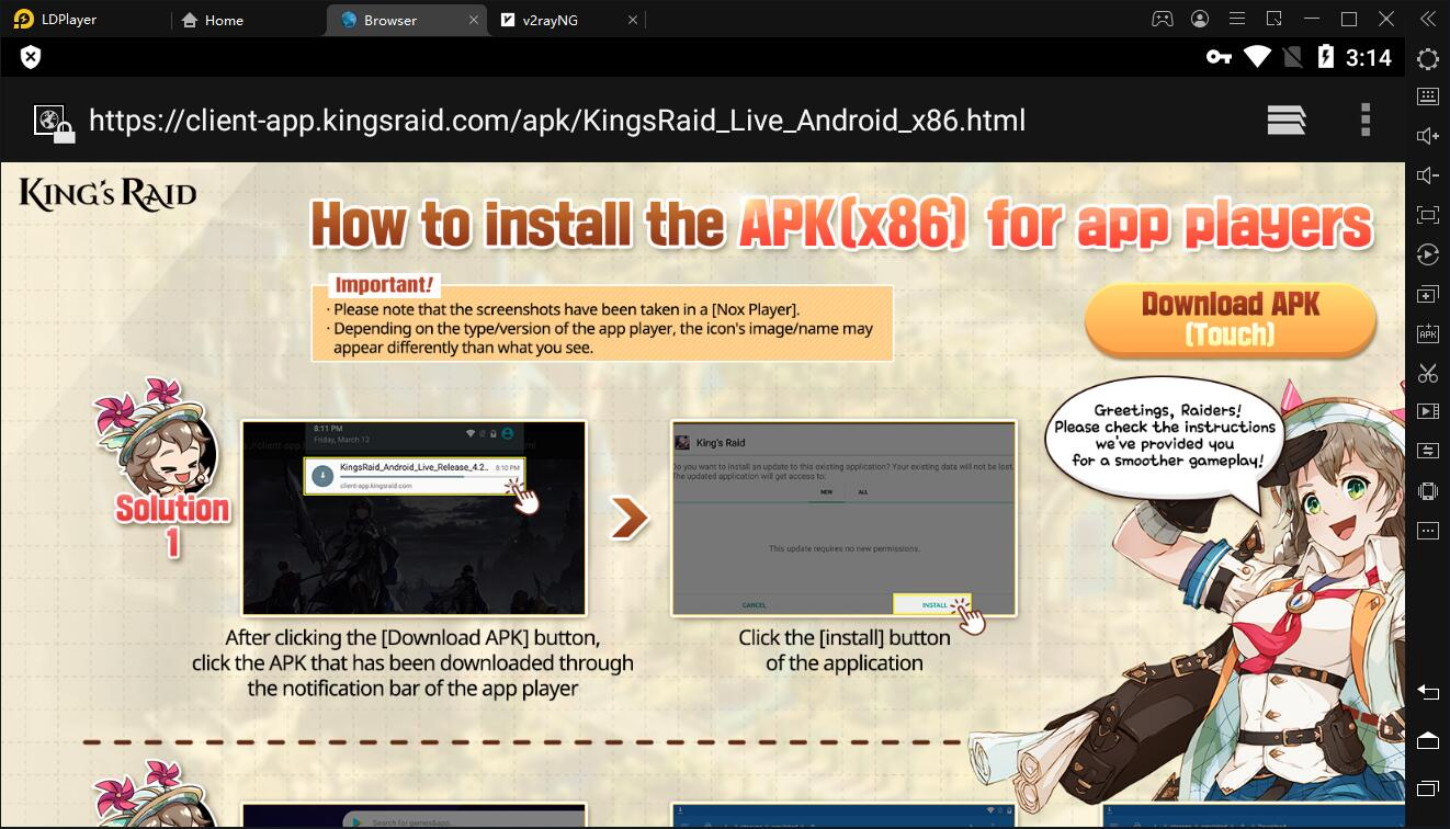 How to install the APK (x86) of KING`s RAID for LDPlayer