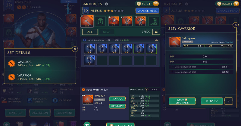 Gemstone Legends set pieces and artifacts