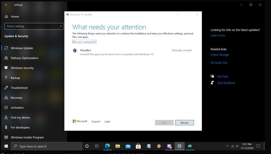 Solução de Windows 10 Insider Preview 20257.1 não suporta a VirtualBox