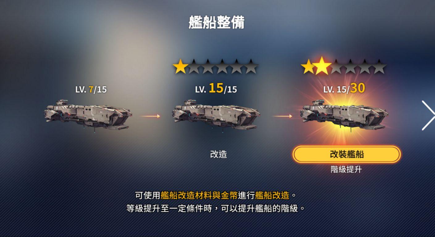 未來戰 艦船整備 升星 升等